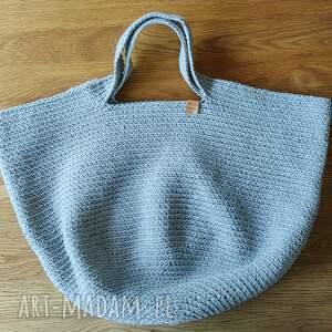 torba szara ze sznurka na szydełku big bag, ramię, szydełku