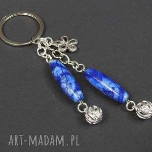 hand made breloki 0129/mela brelok do kluczy kamień sodalit metal