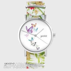 hand-made zegarki zegarek - motyle kwiaty, nato, biały
