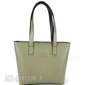 na ramię model shopper poziomy kolor militarna zieleń khaki, format a4