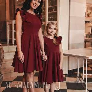 LATORI - Sukienka Dziewczęca z kolekcji Mama i Córka dla córki LD45/1 (bordowy)