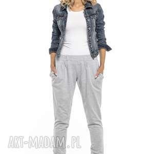 Luźne sportowe spodnie z kieszeniami, T256, jasnoszary, luźne, sportowe,