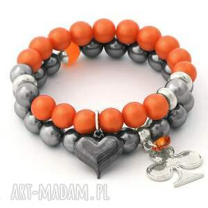 orange glass pearl & steel pearl set - perła, swarovski, serce