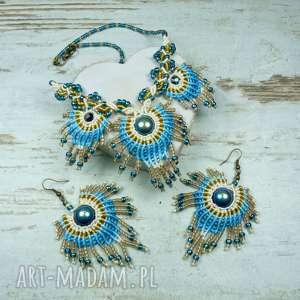 komplet biżuterii pawie pióro, paw, kolorowa, szalona, oryginalna