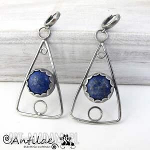 hand-made kolczyki trekanter - lapis lazuli, srebro