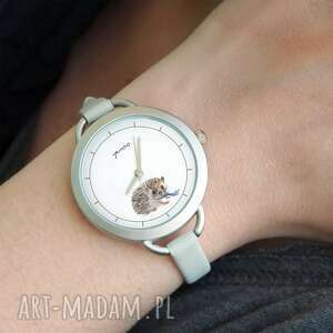 zegarek - jeżyk, zegarek, bransoletka, skórzany, jeż, grafika, upominek