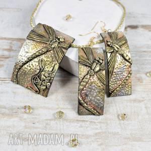 ważki - komplet biżuterii długie kolczyki i zawieszka, biżuteria