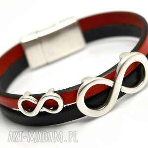 bransoletka skÓra magnetoos double infinity red black, bransoletka, skóra