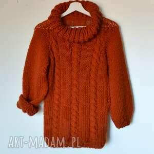 sweter z golfem, sweter, golf, wełniany, na-drutach, kobiecy, unikalny prezent
