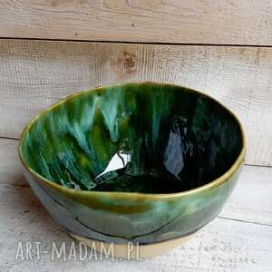 ręcznie zrobione ceramika duża misa ceramiczna zieleń butelkowa