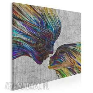 obraz na płótnie - twarze abstrakcja w kwadracie 80x80 cm 13508