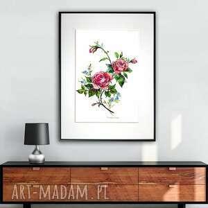 grafika w ramie czerwona róża 30x40, róże, róża, na prezent