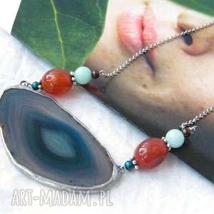 Naszyjnik z agatem: niebieski brązem naszyjniki witrazka