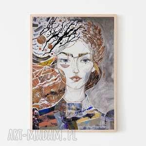 plakat 50x70 cm - niespokojny wiatr, plakat, wydruk, twarz, postać, kobieta