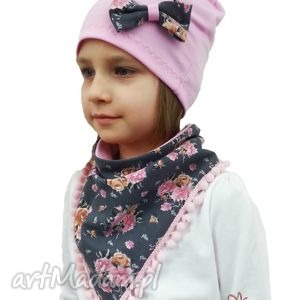 czapka z trójkącikiem na szyję dla diewczynki - trójkacik