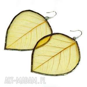 kolczyki prawdziwe liście żółte na sztyfcie, z liści