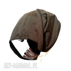 czapka szara uniwersalna dzianina miękka sport, etno, boho, smerfetka