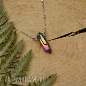 handmade naszyjniki naszyjnik minimalistyczny talizman kwarc tytanowy aura tęczowa stal
