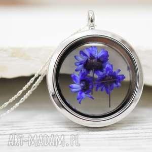 925 Suszone kwiaty srebrny naszyjnik, kwiaty, susz, natura, zawieszka, medalion