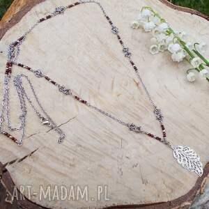 hand made naszyjniki naszyjnik z granatów liściem