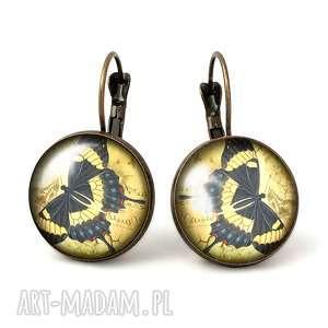 motyle - duże kolczyki wiszące - beżowe kolczyki, biżuteria
