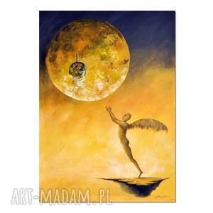 trzepot tęsknych piór, oryginalny obraz ręcznie malowany, surrealizm