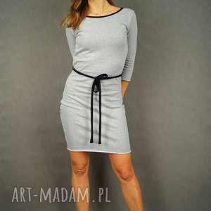 sukienki szara sukienka dresowa z rękawem 3/4 i czarnym paskiem - black tape