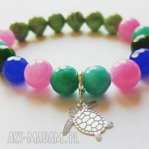 bransoletka ze srebrnym żółwiem, żółw, srebro, kamienie, lato, charms, morze