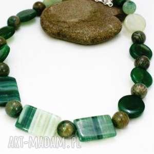 naszyjnik zielone kamienie - naszyjnik, korale, kamienie, agat, jaspis, sznur