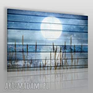 obraz na płótnie - księżyc noc deski rustykalny 120x80 cm 81001, księżyc, kłosy