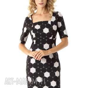dopasowana sukienka z kwadratowym dekoltem roxie czarne grochy, elegancka