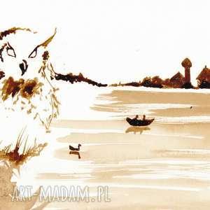 sowa jeziorna - obraz kawą malowany - jezioro, retro, kawa