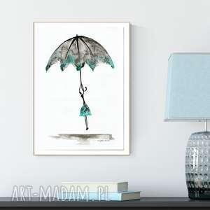 art krystyna siwek grafika 30x40 cm wykonana ręcznie, turkus - obrazy ręcznie