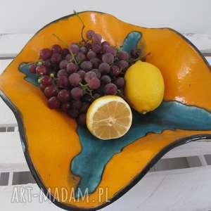 maxi wywijana misa na owoce, miska, ceramiczna, dekoracyjna, kolorowa, artystyczna