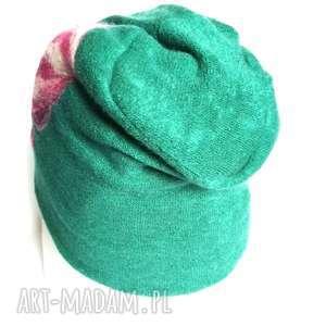czapka wełniana filcowana kwiaty folk turkus - czapka, wełna, etno, boho, kolorowa