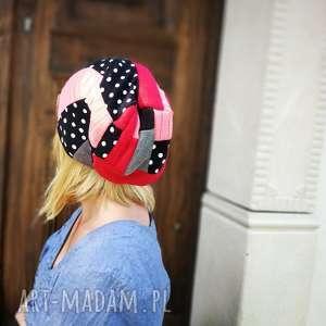 handmade czapki czapka damska patchworkowa groszki kropki