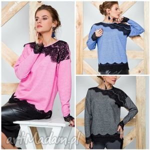 oryginalny prezent, cover bluzka ozdobiona koronka, bluzy, swetry, modny, ciepły