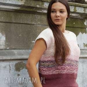 cieniowana bluzka z brązem, bluzka, bawełniana, na drutach