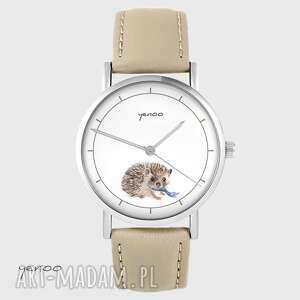 Zegarek yenoo - jeżyk beżowy, skórzany zegarki zegarek, jeż