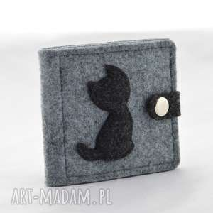 green sheep portfel - mini z kotem - szary i grafit, portfel, portfelik