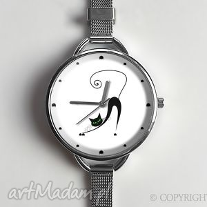ręcznie wykonane zegarki zakręcony kot - zegarek z dużą tarczką 0878