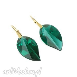 earrings - emerald swarovski leafs, swarovski, emerald