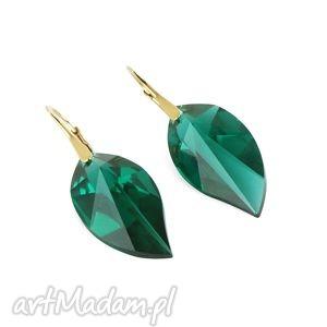 lavoga earrings - emerald swarovski leafs