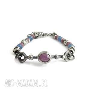 handmade rubiny, kianity - bransoletka srebrna