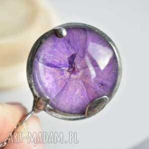Fioletowy floks - naszyjnik z prawdziwym kwiatem w szkle