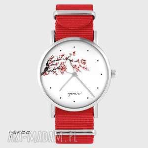 zegarek - kwitnąca wiśnia czerwony, nato, zegarek, bransoletka