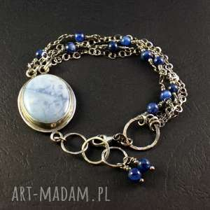 Opal i obłoki, srebro-oksydowane, srebro-925, łańcuszek-srebrny, kyanit,