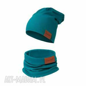 komplet czapka i komin szmaragdowy, komin, bawełniana