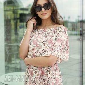 długa sukienka hiszpanka, suk200 różowy wzór