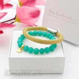 zestaw bransoletek elegance set - jadeit, piękne bransoletki, modna biżuteria